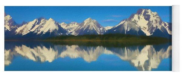 Grand Teton Reflection Wood Texture Yoga Mat