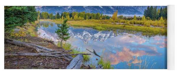 Grand Teton Sunrise Reflection Yoga Mat