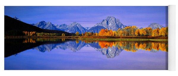 Grand Tetons And Reflection In Grand Yoga Mat