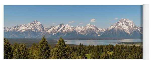 Grand Tetons Over Jackson Lake Panorama Yoga Mat