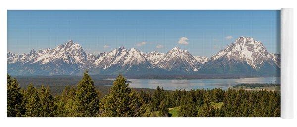 Grand Tetons Over Jackson Lake Panorama Yoga Mat