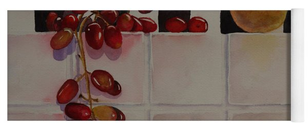 Yoga Mat featuring the painting Grapes And Pear by Ruth Kamenev
