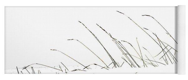 Grass In A Snow Field Yoga Mat