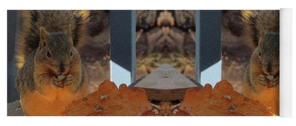 Grateful Squirrels Enjoying A Halloween Pumpkin Yoga Mat