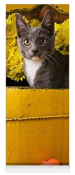 Gray Kitten In Yellow Bucket Yoga Mat