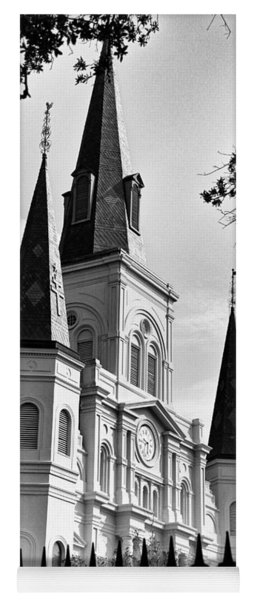 Grayscale St. Louis Cathedral Yoga Mat