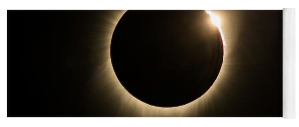 Yoga Mat featuring the photograph Great American Eclipse Diamond Ring 5x7 As Seen In Albany, Oregon.  Signature Edition by John King