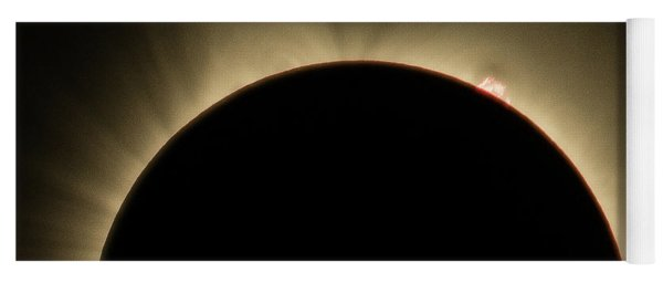 Yoga Mat featuring the photograph Great American Eclipse Prominence 16x9 Totality Prominence 16x9 As Seen In Albany, Oregon. by John King