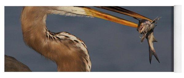 Great Blue Heron W/catfish Yoga Mat