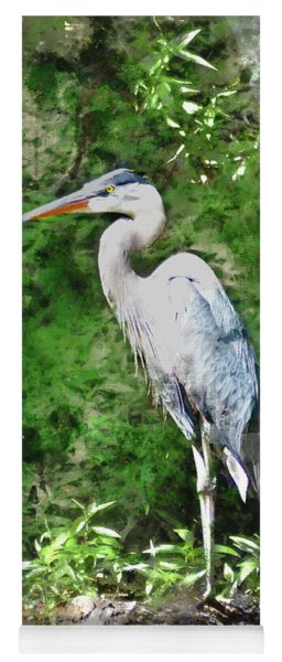 Great Blue Heron Watercolor Yoga Mat