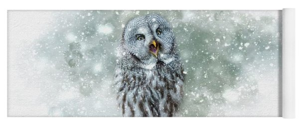 Great Grey Owl In Snowstorm Yoga Mat