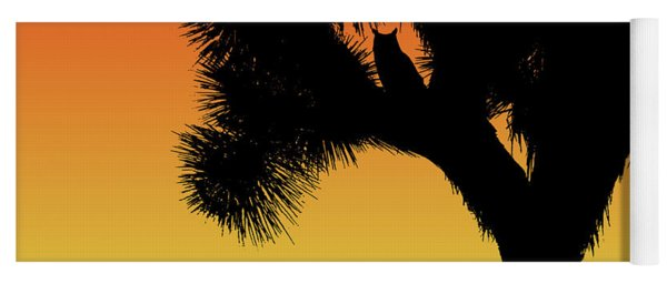 Great Horned Owl In A Joshua Tree Silhouette At Sunset Yoga Mat