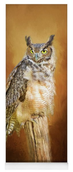 Great Horned Owl In Autumn Yoga Mat