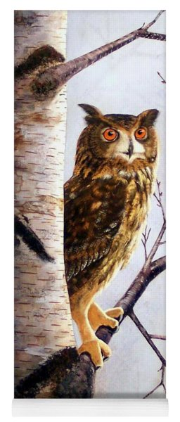 Great Horned Owl In Birch Yoga Mat