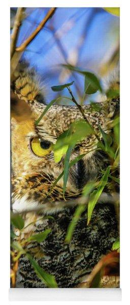 Great Horned Owl Peeking At It's Prey Yoga Mat