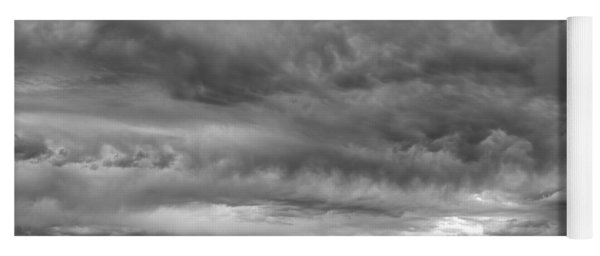 Great Salt Lake Clouds At Sunset - Black And White Yoga Mat