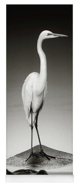 Great White Egret On Hippo Yoga Mat