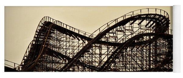 Great White Roller Coaster - Adventure Pier Wildwood Nj In Sepia Yoga Mat
