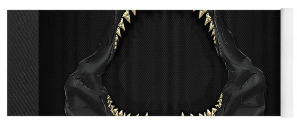 Great White Shark Jaws With Gold Teeth  Yoga Mat