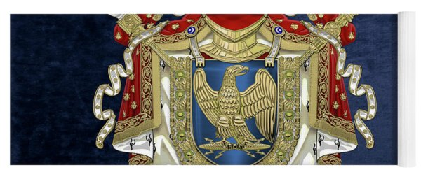 Greater Coat Of Arms Of The First French Empire Over Blue Velvet Yoga Mat