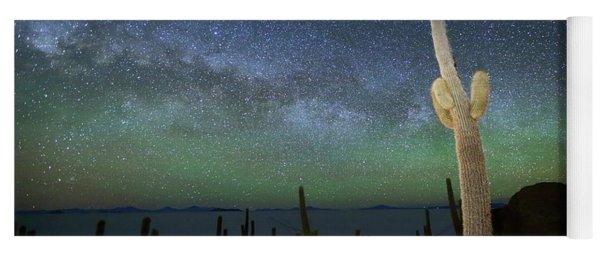 Green Airglow And Cactus Incahuasi Island Bolivia Yoga Mat