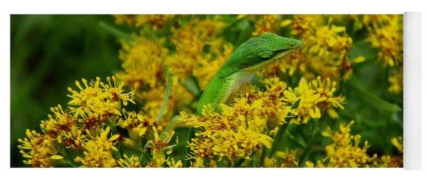 Green Anole Hiding In Golden Rod Yoga Mat