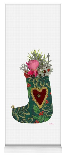 Green Christmas Stocking With Heart And Rose Yoga Mat