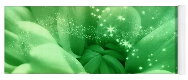 Green Crysanthemum With Stars Yoga Mat