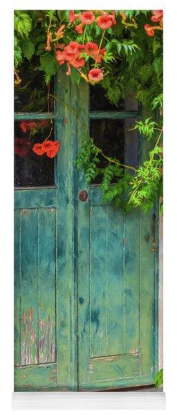 Green Door With Vine Yoga Mat