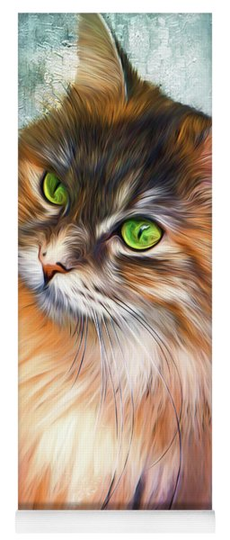 Green-eyed Maine Coon Cat - Remastered Yoga Mat