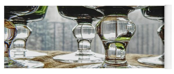 Green Glass Goblets Yoga Mat