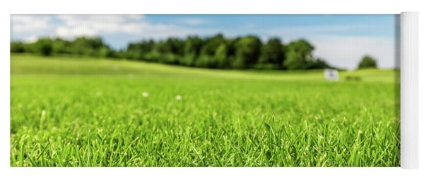 Green Golf Course With Blue Sky. Yoga Mat