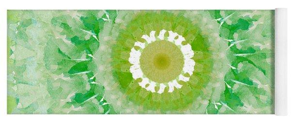Green Mandala- Abstract Art By Linda Woods Yoga Mat