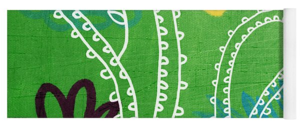 Green Paisley Garden Yoga Mat