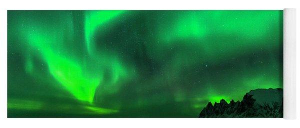 Green Skies At Night Yoga Mat