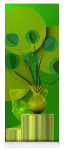 Green Still Life With Abstract Flowers, Yoga Mat