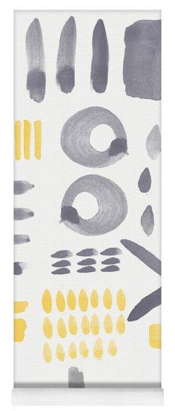 Grey And Yellow Shapes- Abstract Painting Yoga Mat