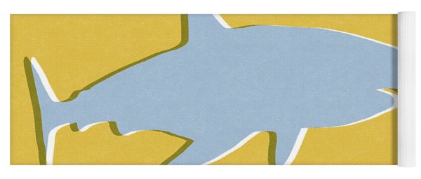 Grey And Yellow Shark Yoga Mat