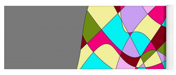 Grey Multicolored Abstract Yoga Mat