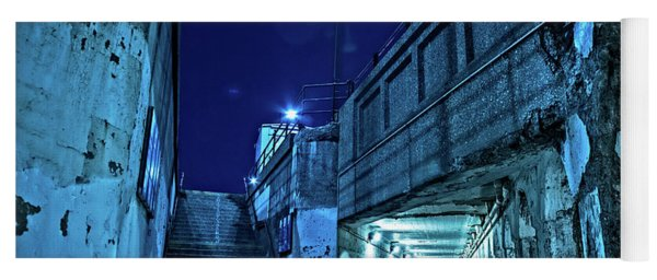 Gritty Dark Chicago City Street Under Industrial Bridge Viaduct At Night Yoga Mat