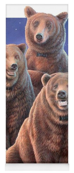 Grizzly Bears In Starry Night Yoga Mat