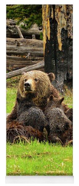 Grizzy Sow Nursing Cubs Yoga Mat