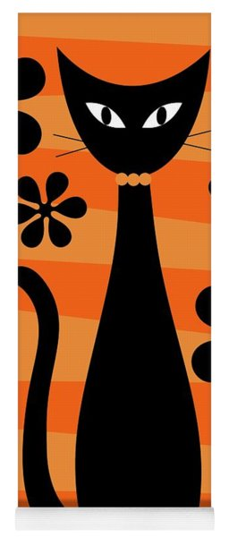 Groovy Flowers With Cat Orange And Light Orange Yoga Mat