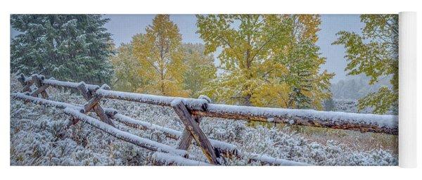 Gros Ventre Grand Teton Fall Snowfall Fence Yoga Mat