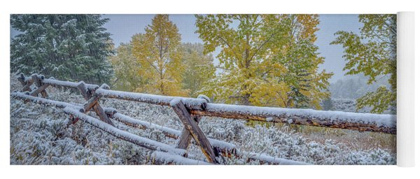 Gros Ventre Grand Teton Fall Snowfall Fence Yoga Mat