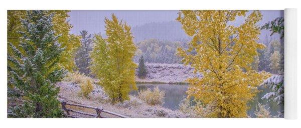 Gros Ventre Grand Teton Fall Snowfall Yoga Mat