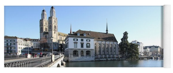 Grossmunster, Wasserkirche And Munsterbrucke - Zurich Yoga Mat