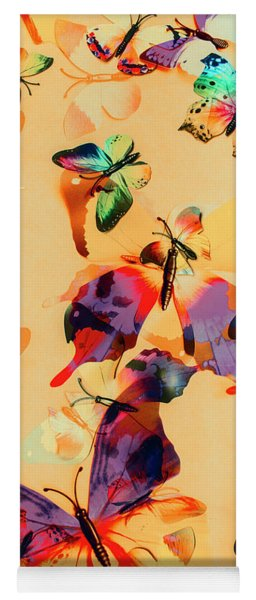 Group Of Butterflies With Colorful Wings Yoga Mat