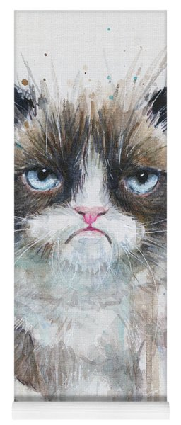 Grumpy Cat Watercolor Painting  Yoga Mat