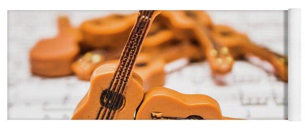 Guitars On Musical Notes Sheet Yoga Mat